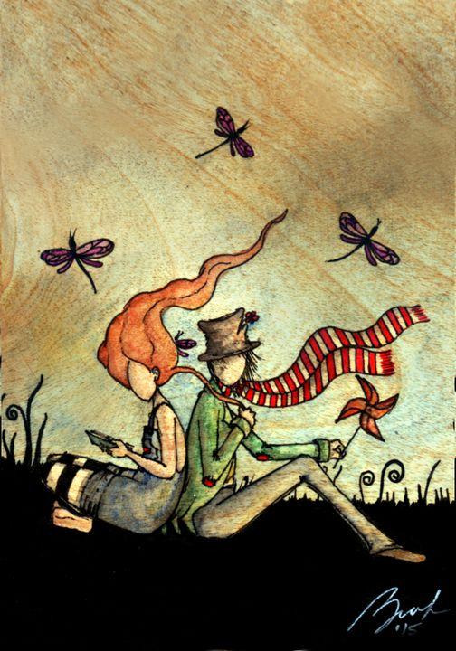 Seating with dragonflies - Beatriz Rivera Vargas Fine Art