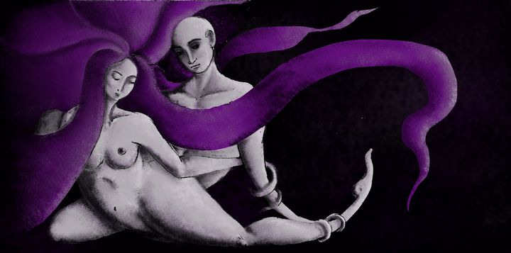 Purple couple I - Beatriz Rivera Vargas Fine Art