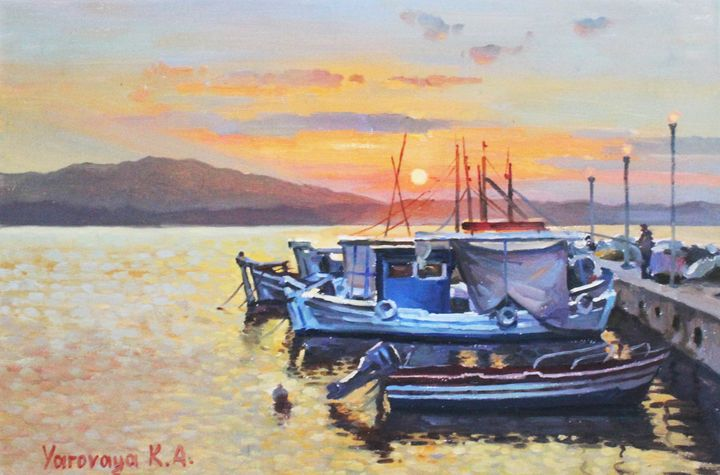 Boats at sunset. - Ksenia Yarovaya