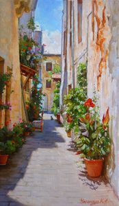 Street of flowers Chania. Crete
