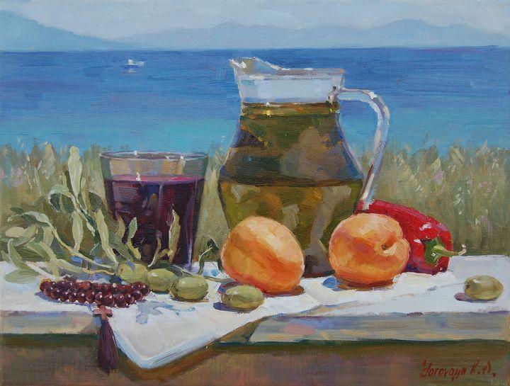 Greek still life with olive oil - Ksenia Yarovaya