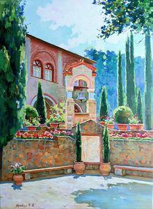 The monastery courtyard. Meteora