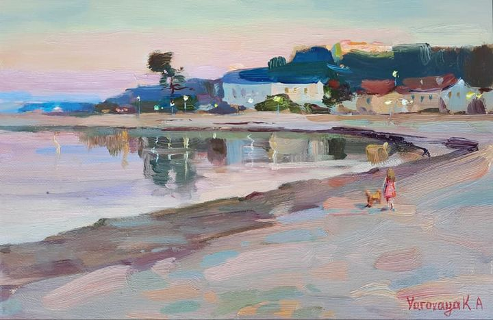 """Pearl pink evening. Nea Potidea"" - Ksenia Yarovaya"