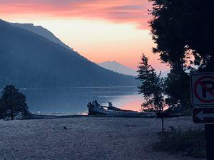 Lake wenatchee; smokey sunset