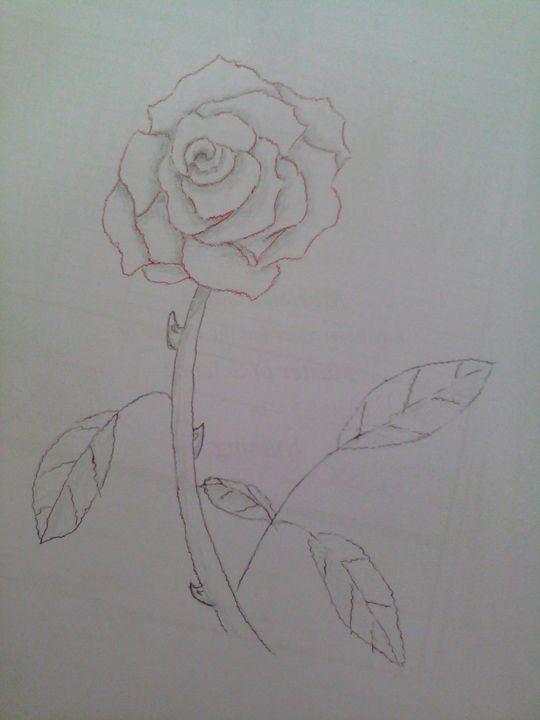Pencil Red Rose - sARTastic
