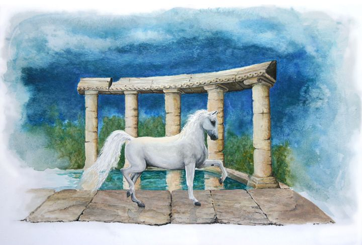 White horse Among Ruins - Crystal Newton