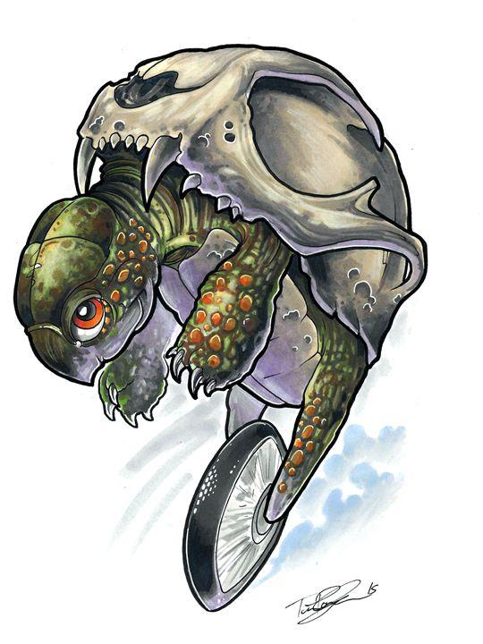 Unicycle Turtle - Tim Pangburn Art