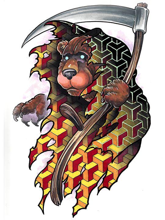 Grim Reaper Bear - Tim Pangburn Art