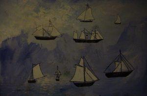 Ships in blue