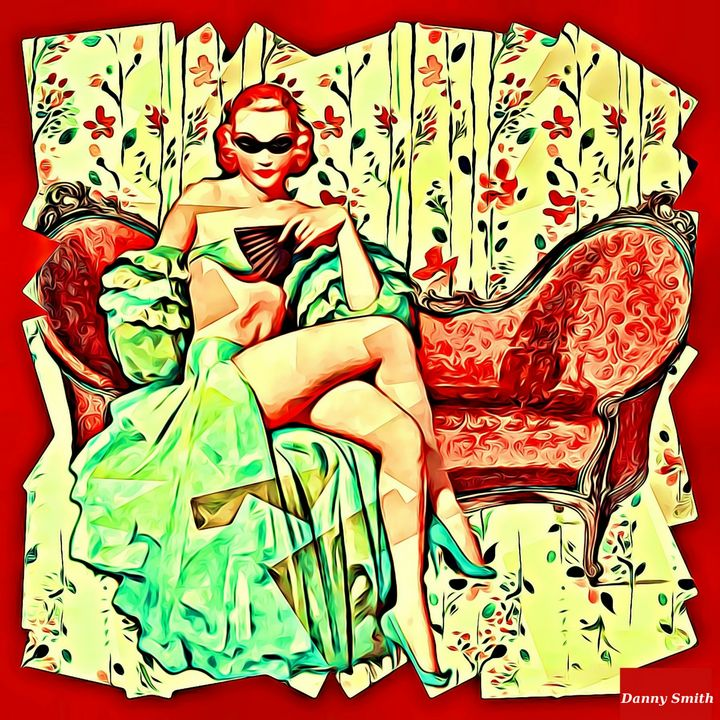 Vintage Beauty with Red - Danny's Art