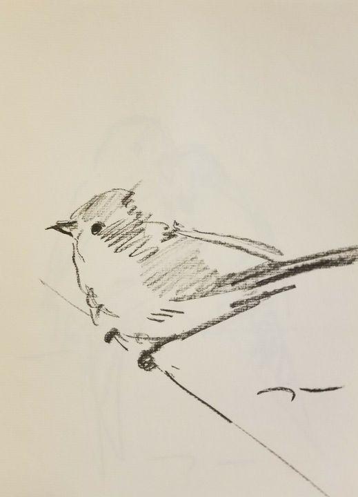 Jose Trujillo Charcoal Bird - Jose Trujillo Fine Art