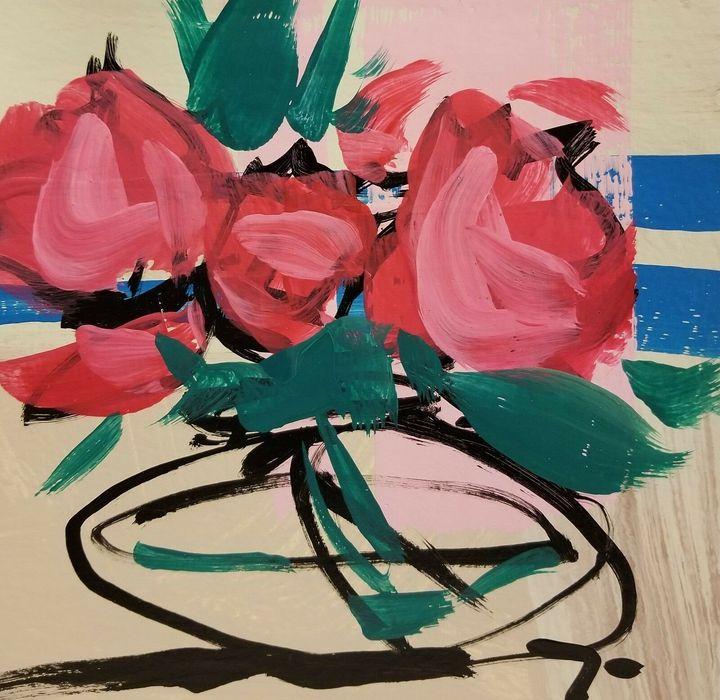 Jose Trujillo Abstract Rose Vase - Jose Trujillo Fine Art