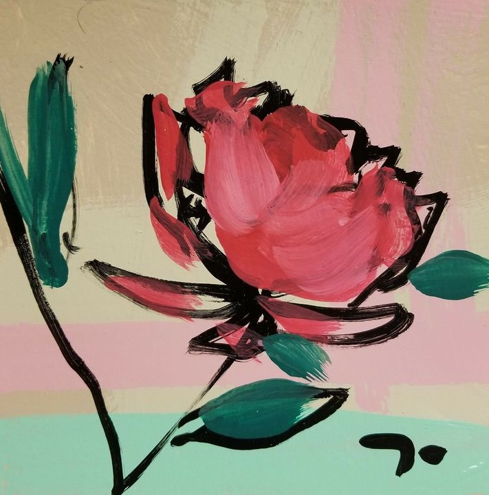 Jose Trujillo Acrylic Painting 6x6 Modernism Abstract Colors Contemporary Roses