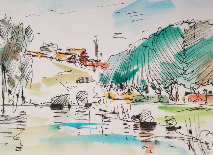 Jose Trujillo Lake Landscape Art - Jose Trujillo Fine Art