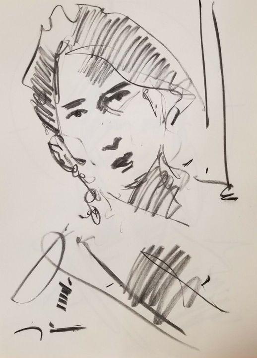 Jose Trujillo Sketch Portrait Woman - Jose Trujillo Fine Art
