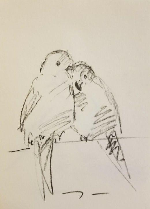 Jose Trujillo Charcoal Love Birds - Jose Trujillo Fine Art