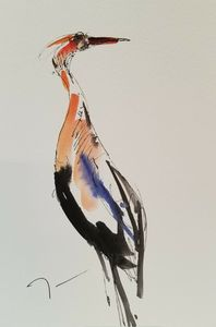 Jose Trujillo Watercolor Crane