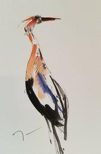 Jose Trujillo Watercolor Crane