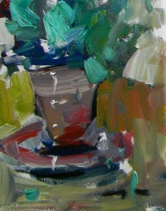 Jose Trujillo Potted Plant Oil Paint - Jose Trujillo Fine Art