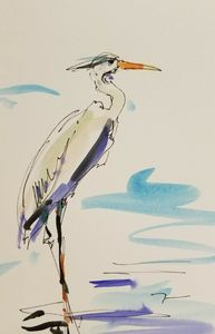 Jose Trujillo Watercolor Crane Marsh