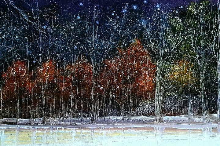 Snowfall at night - LeanneScapes
