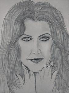 Drew Barrymore in pencil strokes