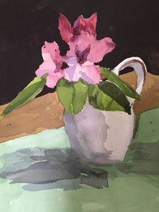 Rhodies in Teapot - Joanna Alexander