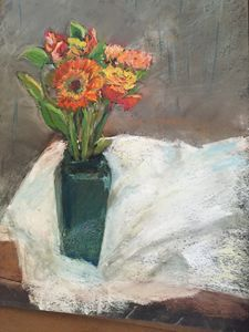 Mixed Flowers in Teal Vase