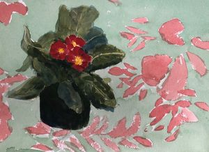Red Primroses on a hawaiian print