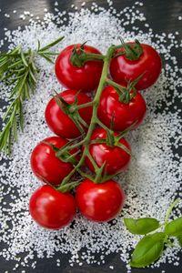 Salt, Herb and fresh Tomatos