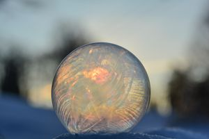 Frozen rainbow bubble