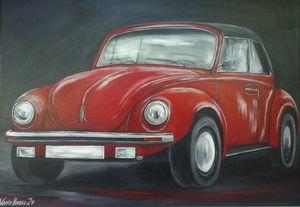 VW Käfer in rot - Oldtimer - gemalt