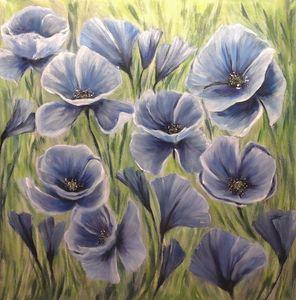 Mohnblumen in blau