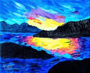 Sunset over Robson Bight (Acrylic)