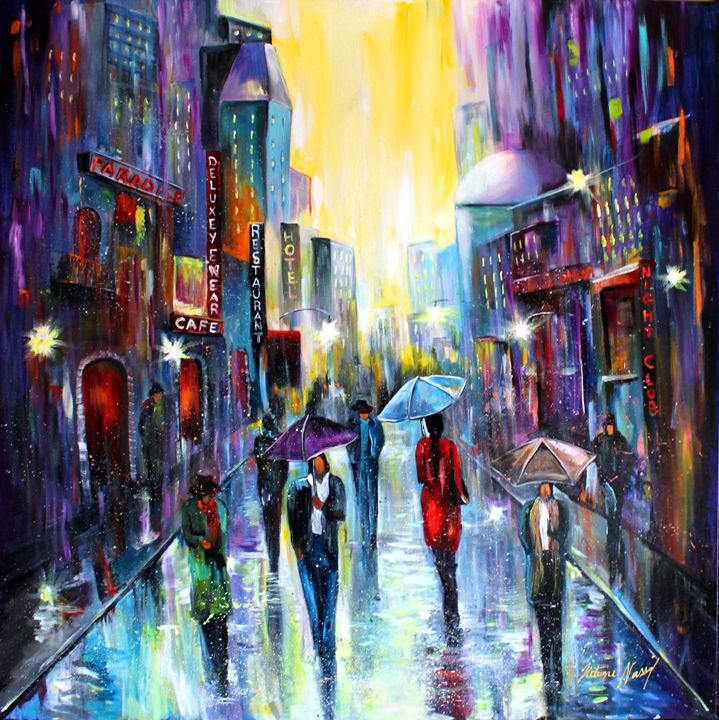 Rainy night in the city - Helena's art