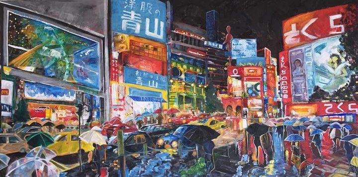 Shibuya in the rain - ARTbyYTY