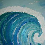 Acrylic painting of ocean waves