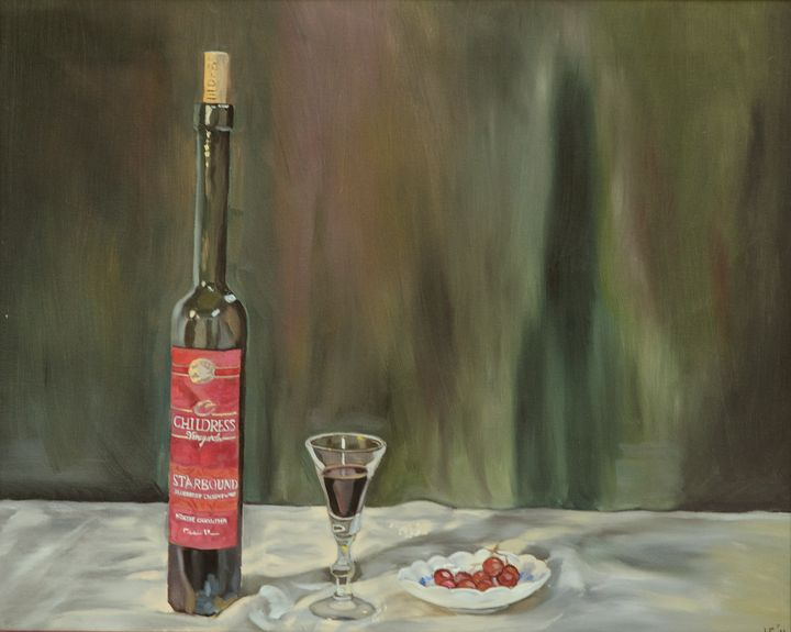 Dessert Wine With Grapes - J Eneas Art