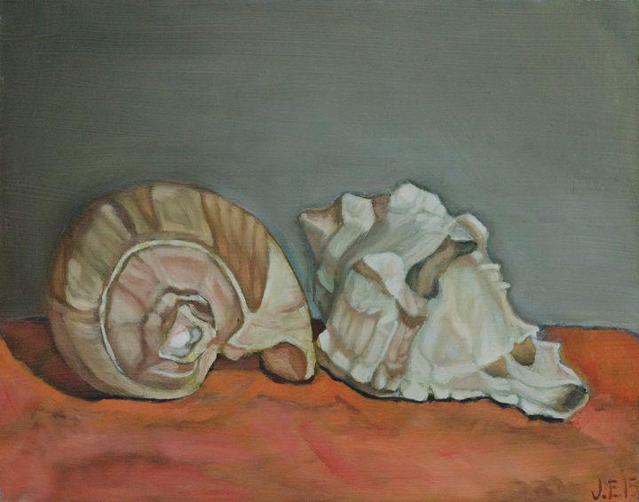 Two Sea Shells Against Orange Backgr - J Eneas Art