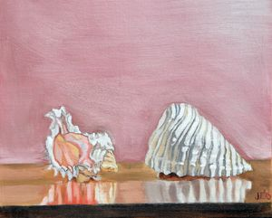 Two Sea Shells Against Lavender.....