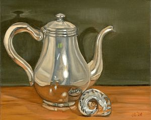 Silver Teapot and Sea Shell. - J Eneas Art
