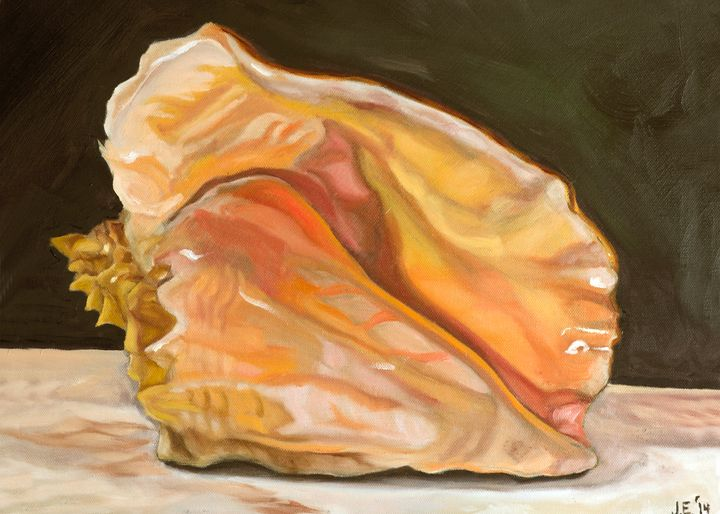 Queen Conch Shell on Emerald - J Eneas Art