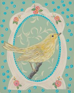 Yellow bird in vintage frame