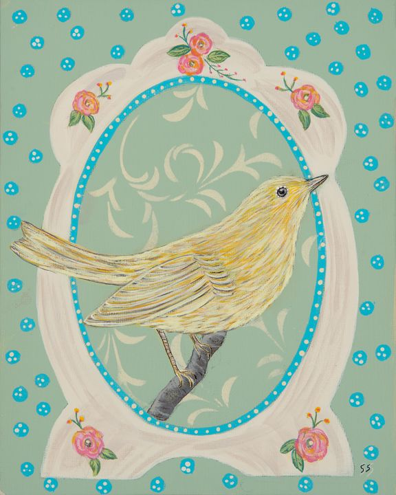 Yellow bird in vintage frame - Susan Sawyer