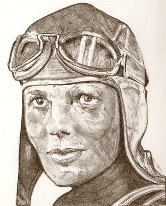 Amelia Earhart drawing - RobCrandall