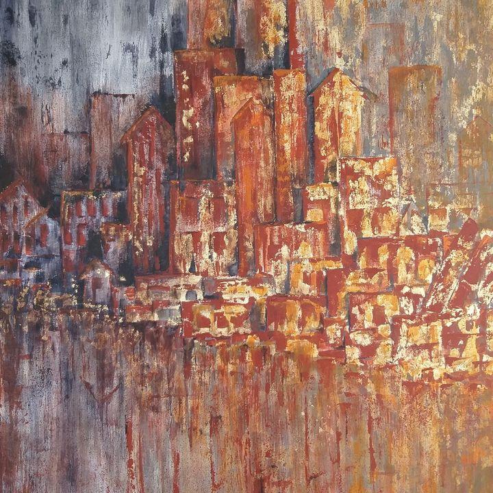 City from dark to light - Swarnarao art