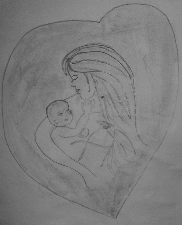 A caring mother with baby - chandrika menon mohandas nair
