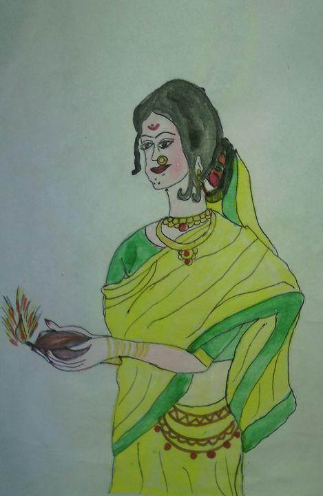 A traditional Indian woman worship - chandrika menon mohandas nair