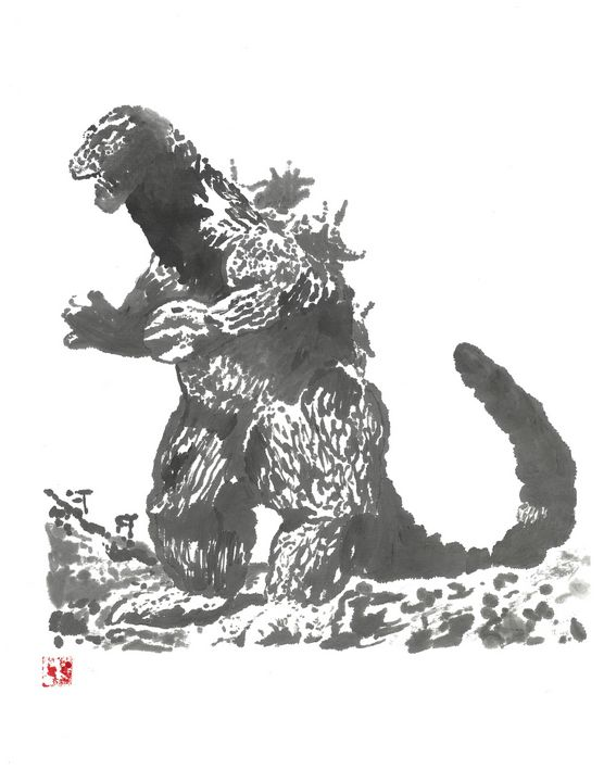 Godzilla 62 Sumi-e' - Mike's Kaiju Art Gallery