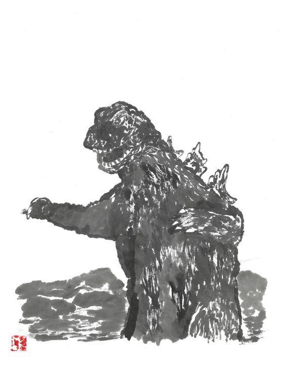Godzilla 65 Sumi-e' - Mike's Kaiju Art Gallery